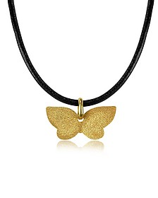 Golden Silver Etched Butterfly Pendant w/Leather Lace  - Stefano Patriarchi