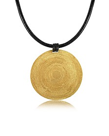 Golden Silver Etched Large Round Pendant w/Leather Lace  - Stefano Patriarchi