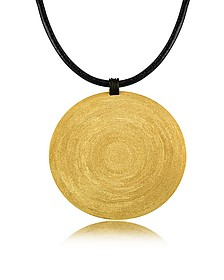Golden Silver Etched X-Large Round Pendant w/Leather Lace  - Stefano Patriarchi
