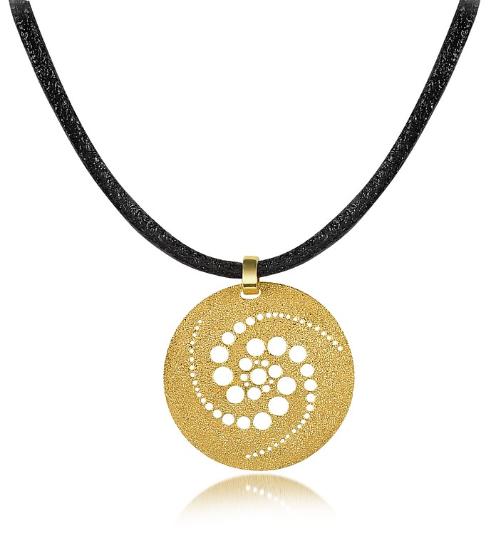 Golden Silver Etched Crop Circle Round Pendant w/Leather Lace  - Stefano Patriarchi