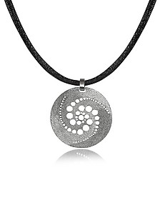 Silver Etched Crop Circle Round Pendant w/Leather Lace  - Stefano Patriarchi
