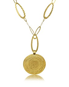 Golden Silver Etched Round Pendant Chain Necklace - Stefano Patriarchi