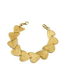 Etched Golden Silver Heart Link Bracelet  - Stefano Patriarchi