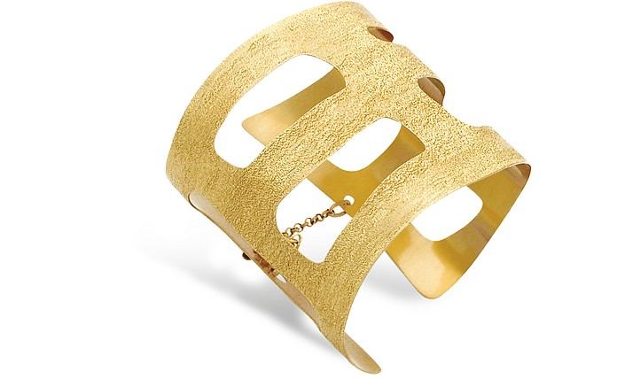Golden Silver Etched Cut Out Small Cuff Bracelet - Stefano Patriarchi