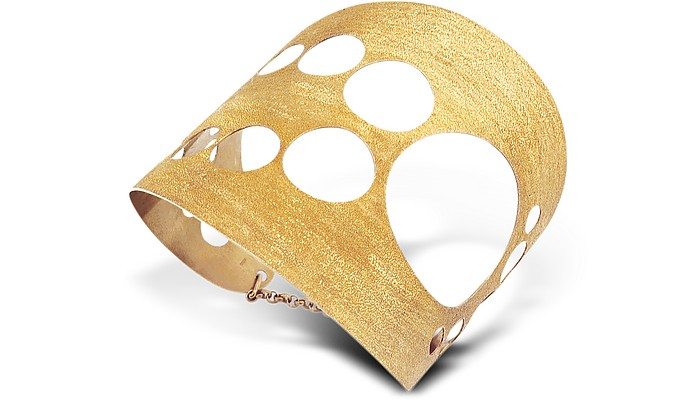 Golden Silver Etched Cut Out Tall Cuff Bracelet - Stefano Patriarchi