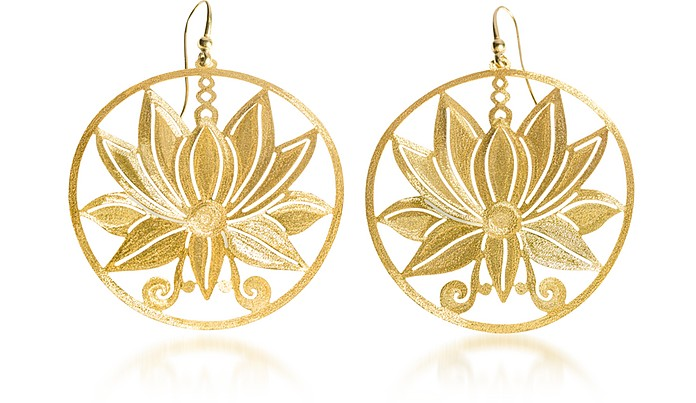 Etched Golden Silver Large Loto Earrings - Stefano Patriarchi