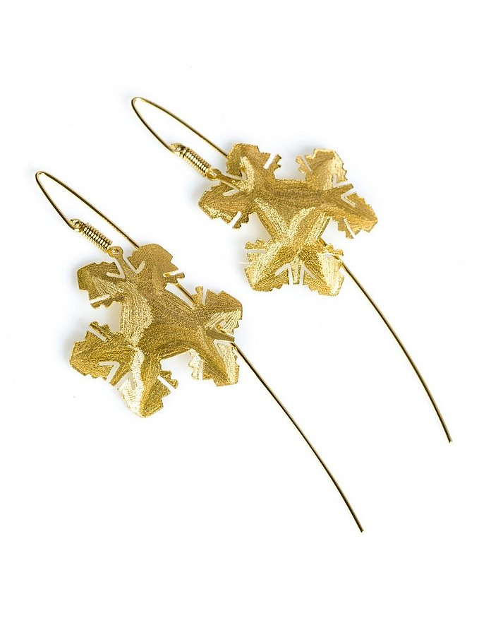 Etched Golden Silver Ice Drop Earrings - Stefano Patriarchi