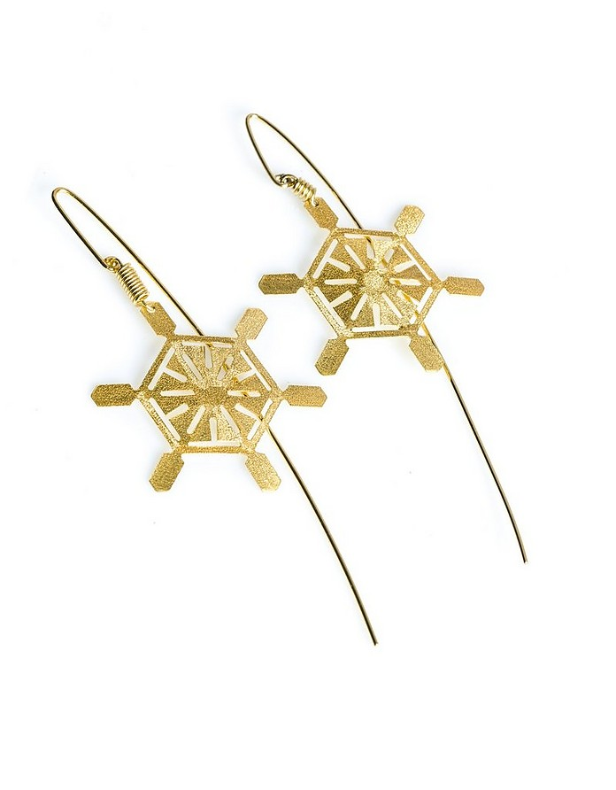 Etched Golden Silver Frost Drop Earrings - Stefano Patriarchi