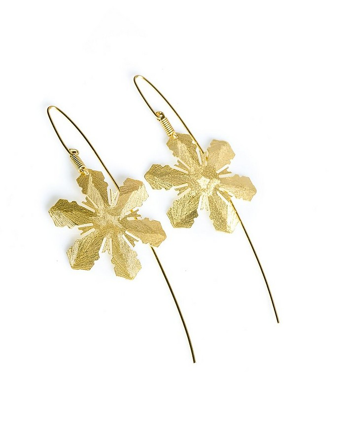 Etched Golden Silver Snow Drop Earrings - Stefano Patriarchi