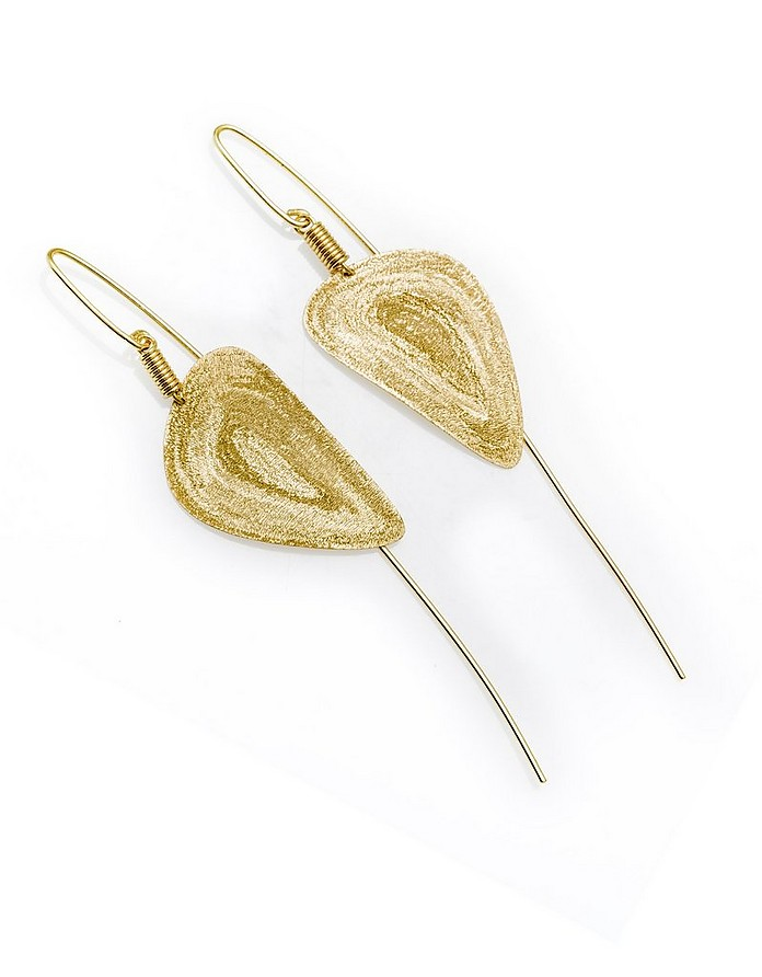Etched Golden Silver Medium Drop Earrings - Stefano Patriarchi