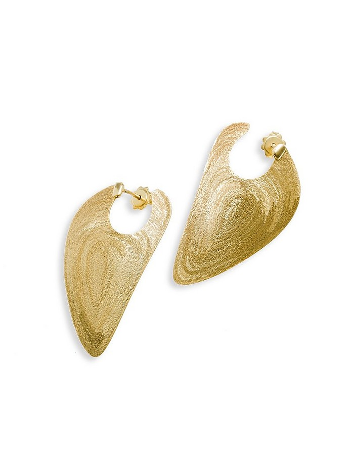 Etched Golden Silver Drop Earrings - Stefano Patriarchi