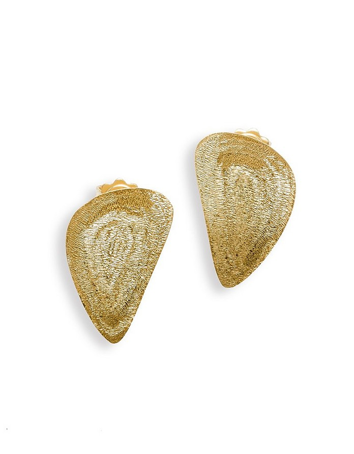 Etched Golden Silver Drop X-Small Earrings - Stefano Patriarchi / ステファノ パトリアルキ