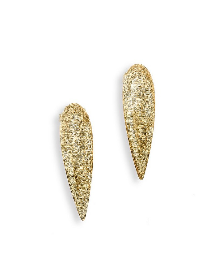 Etched Golden Silver Drop X-Small Earrings - Stefano Patriarchi