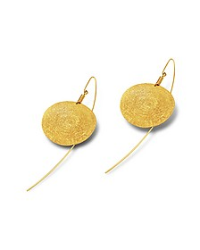 Golden Silver Etched Round Drop Earrings - Stefano Patriarchi