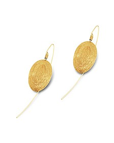 Golden Silver Etched Oval Drop Earrings - Stefano Patriarchi