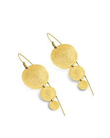 Golden Silver Etched Round Triple Drop Earrings - Stefano Patriarchi