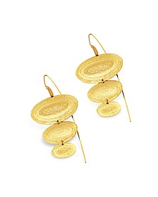 Golden Silver Etched Oval Triple Drop Earrings - Stefano Patriarchi