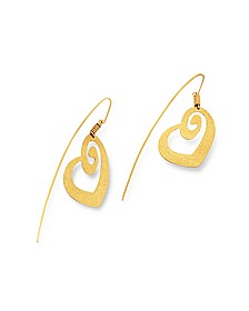Golden Silver Etched Heart Drop Earrings - Stefano Patriarchi