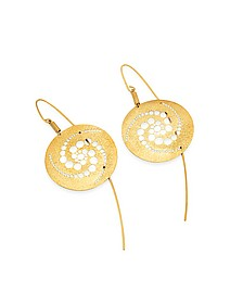 Golden Silver Etched Crop Circle Round Drop Earrings - Stefano Patriarchi