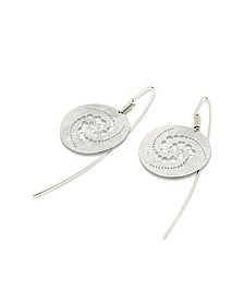 Silver Etched Crop Circle Round Drop Earrings - Stefano Patriarchi