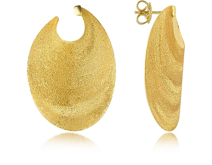 Golden Silver Etched Oval Shield Drop Earrings - Stefano Patriarchi