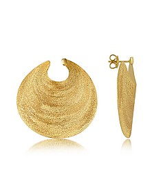 Golden Silver Etched Round Shield Drop Earrings - Stefano Patriarchi