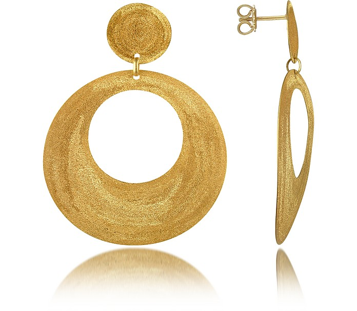 Golden Silver Etched Round Cut Out Drop Earrings - Stefano Patriarchi