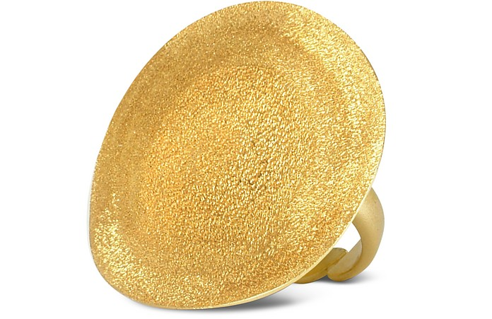 Golden Silver Etched Round Ring - Stefano Patriarchi
