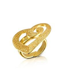 Golden Silver Etched Cut Out Heart Ring - Stefano Patriarchi
