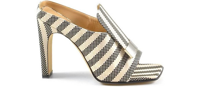 Black and White Woven Fabric and Leather High Heel Slide Ssandals - Sergio Rossi