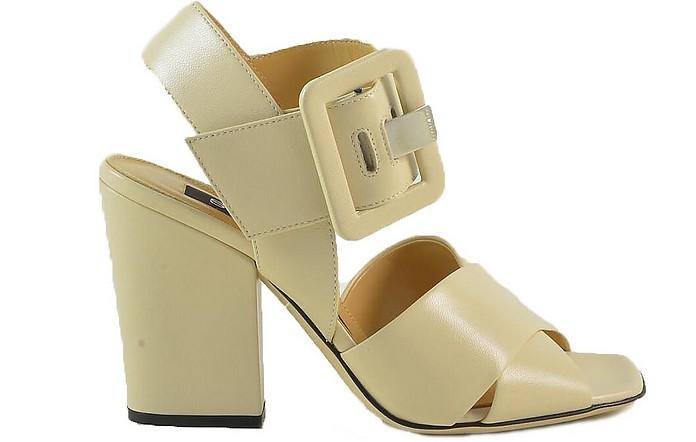 Ivory Leather Sandals w/oversized Buckle - Sergio Rossi / セルジョ ロッシ