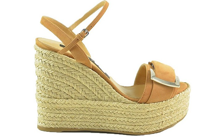 Sergio Rossi Suedes Brown Suede and Woven Jute Wedge Sandals