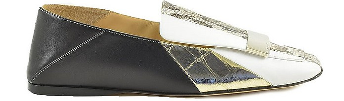 Black, White and Python Printed Leather Flat Loafer - Sergio Rossi / セルジョ ロッシ