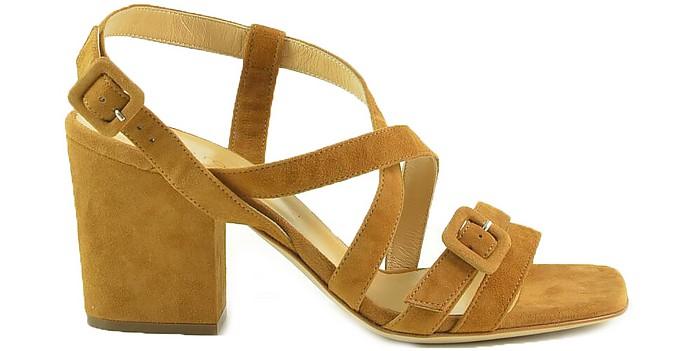 Tabacco Suede Mid-Heel Sandals - Sergio Rossi