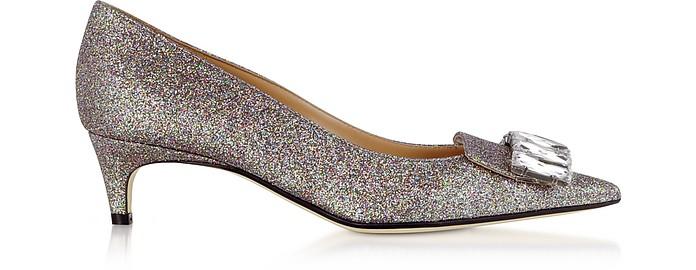 Glitterama Silver Mid-Heel Pumps - Sergio Rossi