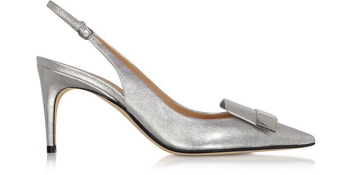 Silver Glacee Mid-heel Slingback Pumps - Sergio Rossi