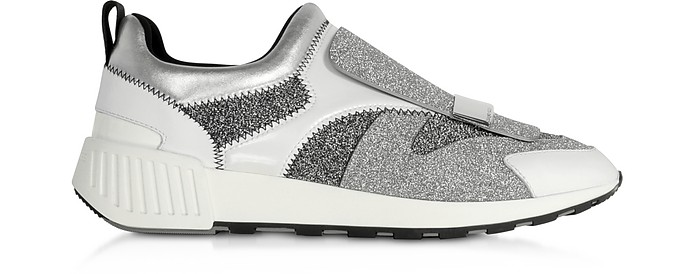 Combo Lurex and White Leather Sneakers - Sergio Rossi