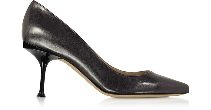 Glacee Anthracite Metallic Leather Pumps - Sergio Rossi