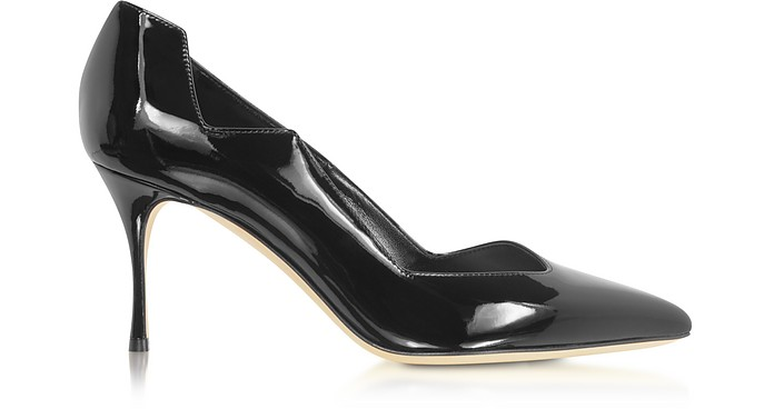 Black Soft Patent Leather Godiva Waves Pumps - Sergio Rossi