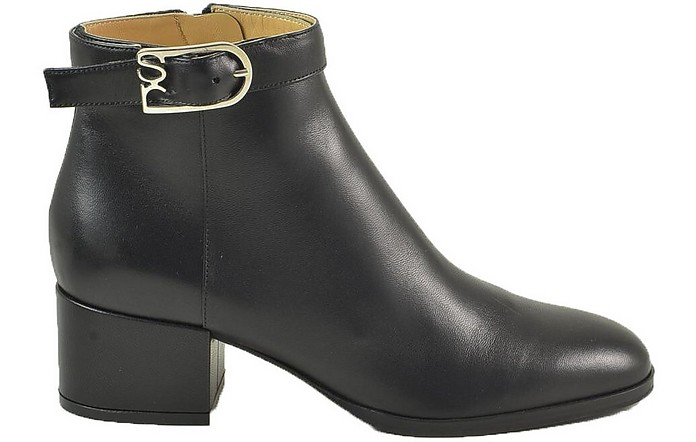 Black Smooth Leather Booties w/Signature Buckle - Sergio Rossi