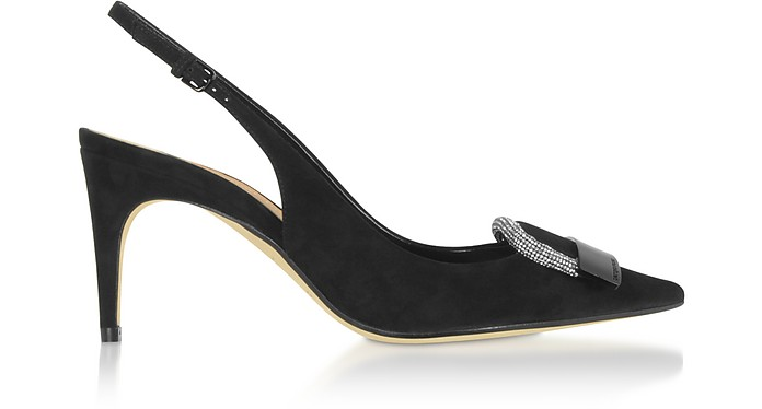 sr1 Black Royal Slingbacks w/ Crystals - Sergio Rossi