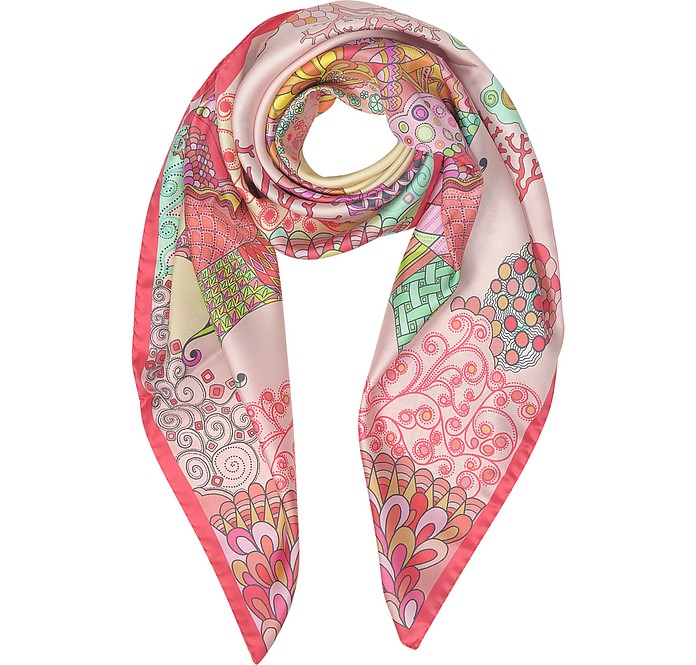Seahorses and Coral Reefs Print Twill Silk Square Scarf - Mila Schon