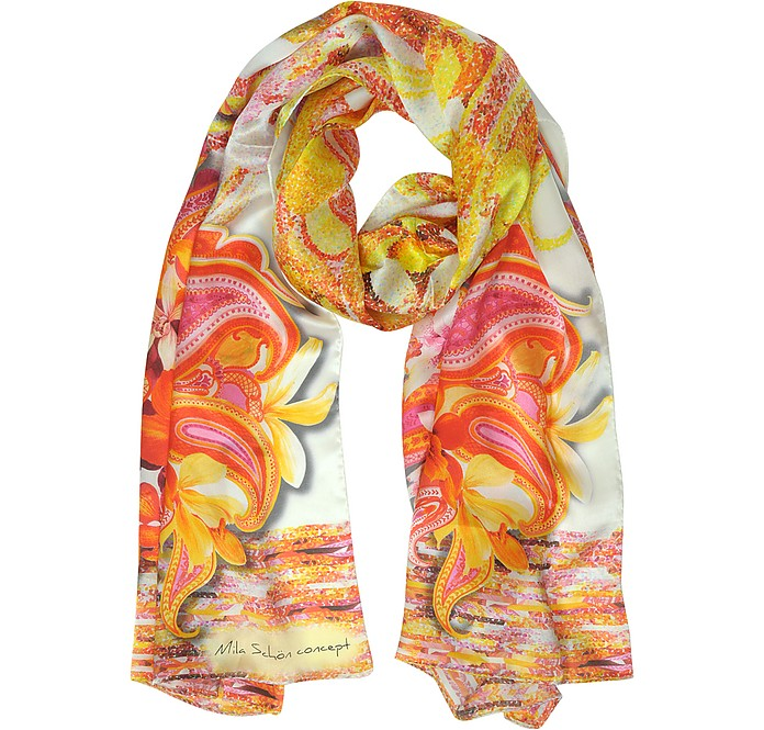 Flowers and Paisley Print Silk Stole - Mila Schon