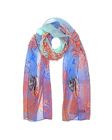 Light Blue Coral Reef Printed Chiffon Silk Stole - Mila Schon