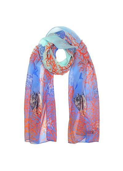 Light Blue Coral Reef Printed Chiffon Silk Stole - Mila Schon