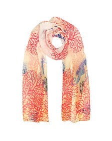 Ivory Coral Reef Printed Chiffon Silk Stole - Mila Schon