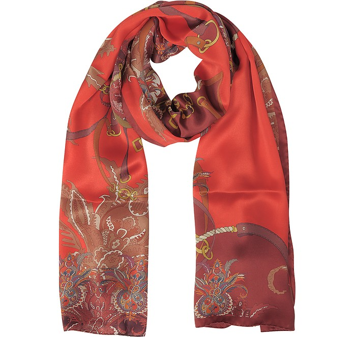 Ornamental and Pattern Printed Satin Silk Stole - Mila Schon / ミラ ショーン