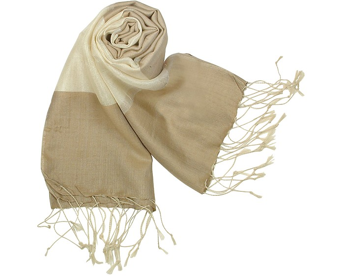 Brown and Cream Devore Silk Stole - Mila Schon
