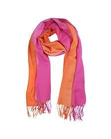 Gradient Fuchsia/Coral Wool and Cashmere Stole - Mila Schon