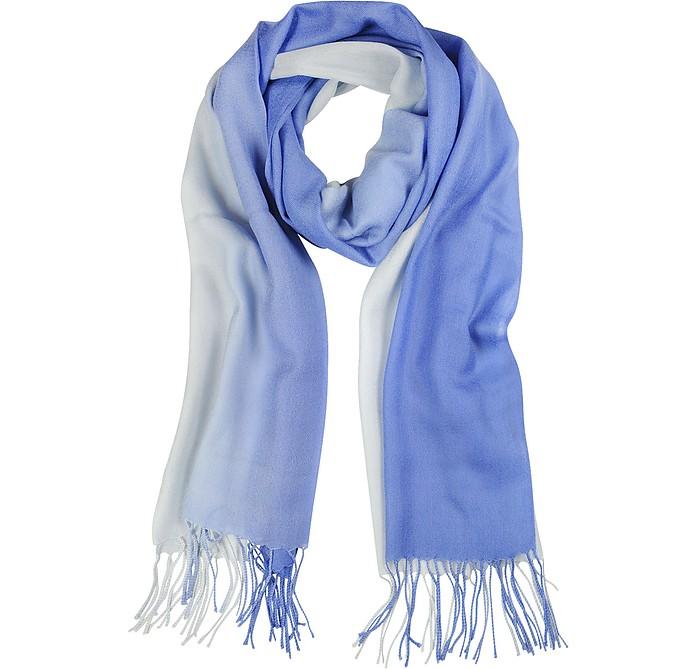 Gradient Blue/Light Blue Wool and Cashmere Stole - Mila Schon